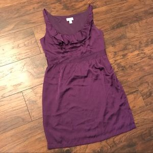 LOFT Purple ruffle neckline dress